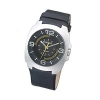 Diesel Men's Black Leather Strap Watch