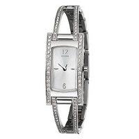 Guess Ladies' Semi-Bangle Crystal-set Watch