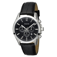 Accurist men's black leather strap chronograph watch