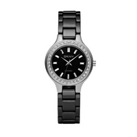 Womens black round ceramic bracelet watch
