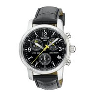 Tissot PRC200 men's leather strap chronograph watch