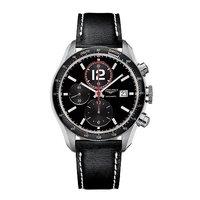 Longines men's black automatic chronograph strap watch