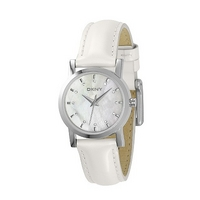 DKNY ladies' mother of pearl white leather strap watch