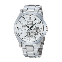 Seiko Premier Kinetic perpetual men's stainless steel watch