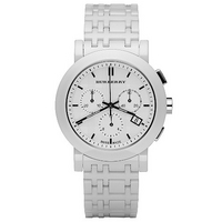 Burberry ladies' white ceramic bracelet watch