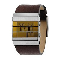 Diesel Men's Digital Yellow Dial Brown Leather Strap Watch