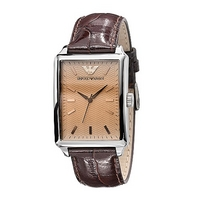 Emporio Armani brown leather strap watch