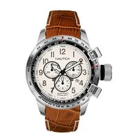 Nautica men's stainless steel white chronograph strap watch