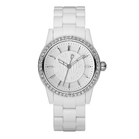 DKNY ladies' white stone set bracelet watch