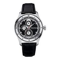 Nautica NCN men's black dial black leather strap watch