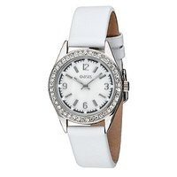 Oasis Ladies' Stone-set White Leather Strap Watch