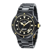 Ladies black three hand date watch