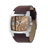 Diesel Men's Brown Leather Strap East West Watch