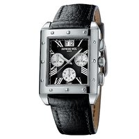 Raymond Weil Tango men's black leather strap watch