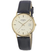 Rotary men's 18ct gold black leather strap watch